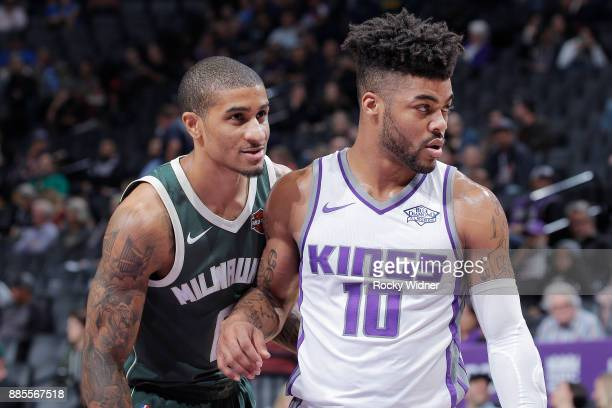 Frank Mason III of the Sacramento Kings faces off against Gary Payton II of the Milwaukee Bucks on November 28 2017 at Golden 1 Center in Sacramento...