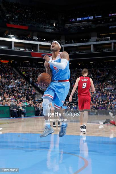 Frank Mason III of the Sacramento Kings goes to the basket against the Miami Heat on March 14 2018 at Golden 1 Center in Sacramento California NOTE...