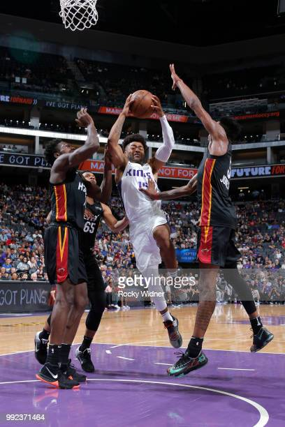 Frank Mason III of the Sacramento Kings goes to the basket against the Miami Heat during the 2018 Summer League at the Golden 1 Center on July 5 2018...