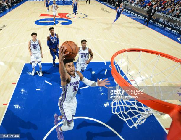 Frank Mason III of the Sacramento Kings goes up for the layup against the Philadelphia 76ers at Wells Fargo Center on December 19 2017 in...