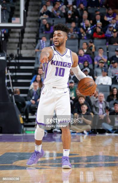 Frank Mason III of the Sacramento Kings handles the ball against the Milwaukee Bucks on November 28 2017 at Golden 1 Center in Sacramento California...