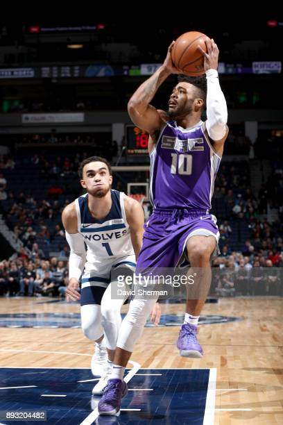 Frank Mason III of the Sacramento Kings handles the ball against the Minnesota Timberwolves on December 14 2017 at Target Center in Minneapolis...
