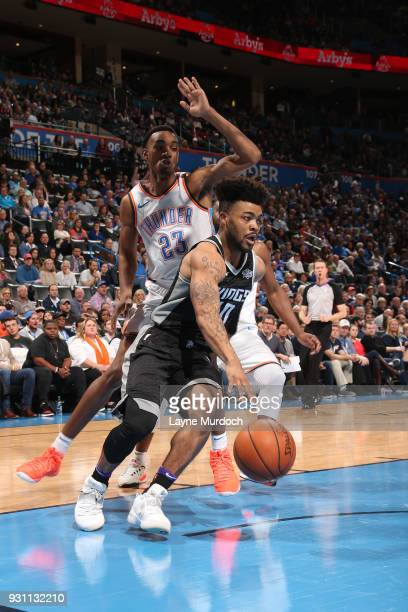 Frank Mason III of the Sacramento Kings handles the ball against the Oklahoma City Thunder on March 12 2018 at Chesapeake Energy Arena in Oklahoma...