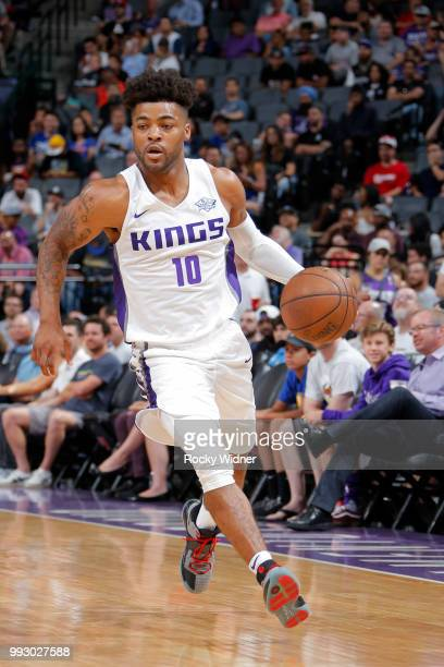 Frank Mason III of the Sacramento Kings handles the ball against the Golden State Warriors on July 3 2018 at Golden 1 Center in Sacramento California...