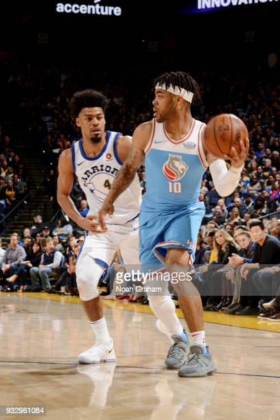 Frank Mason III of the Sacramento Kings handles the ball during the game against the Golden State Warriors on March 16 2018 at ORACLE Arena in...