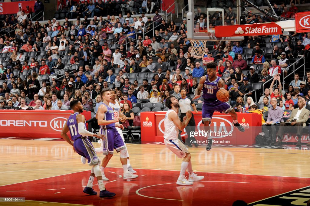 Frank Mason III #10 of the Sacramento Kings passes the ball against the LA Clippers on October 12, 2017 at STAPLES Center in Los Angeles, California.