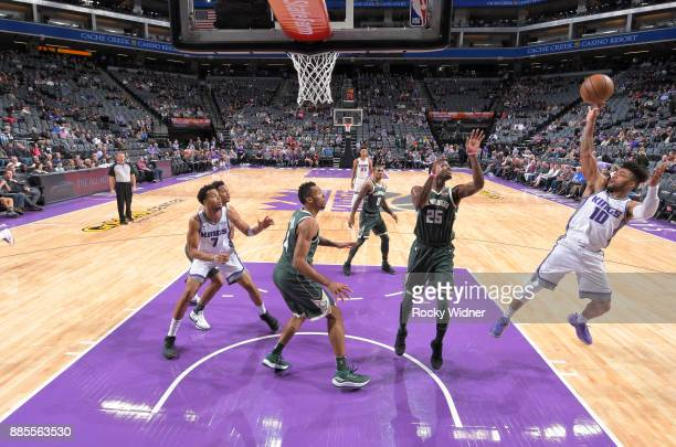 Frank Mason III of the Sacramento Kings puts up a shot against the Milwaukee Bucks on November 28 2017 at Golden 1 Center in Sacramento California...