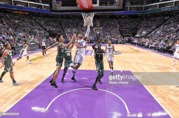 Frank Mason III of the Sacramento Kings shoots a layup against the Milwaukee Bucks on November 28 2017 at Golden 1 Center in Sacramento California...
