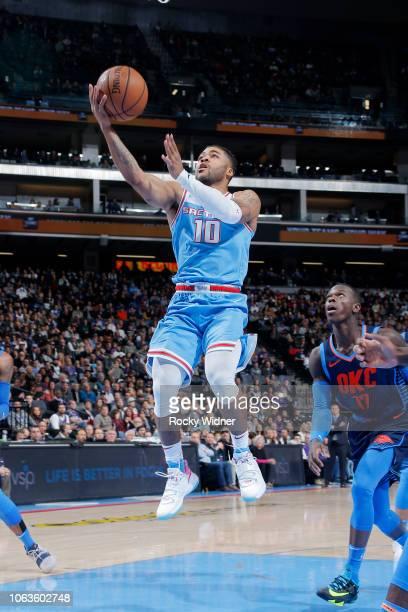 Frank Mason III of the Sacramento Kings shoots the ball against the Oklahoma City Thunder on November 19 2018 at Golden 1 Center in Sacramento...