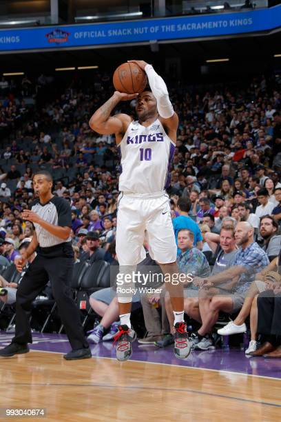 Frank Mason III of the Sacramento Kings shoots the ball against the Miami Heat during the 2018 Summer League at the Golden 1 Center on July 5 2018 in...