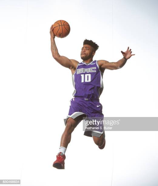 Frank Mason of the Sacramento Kings poses for a photo during the 2017 NBA Rookie Shoot on August 11 2017 at the Madison Square Garden Training Center...