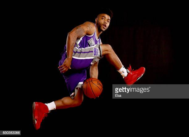 Frank Mason of the Sacramento Kings poses for a portrait during the 2017 NBA Rookie Photo Shoot at MSG Training Center on August 11 2017 in...