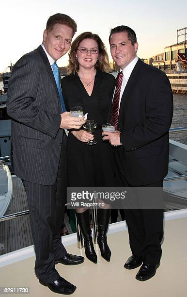 Frank Massino Tricia Massino and Robert Olsen attend a dinner aboard the Forbes Yacht The Highlander hosted by the Junior Council of the American...