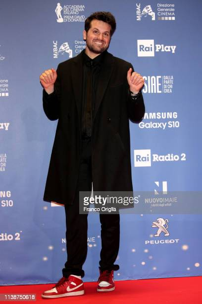 Frank Matano poses in the winners room at the 64 David Di Donatello Award Ceremony on March 27 2019 in Rome Italy
