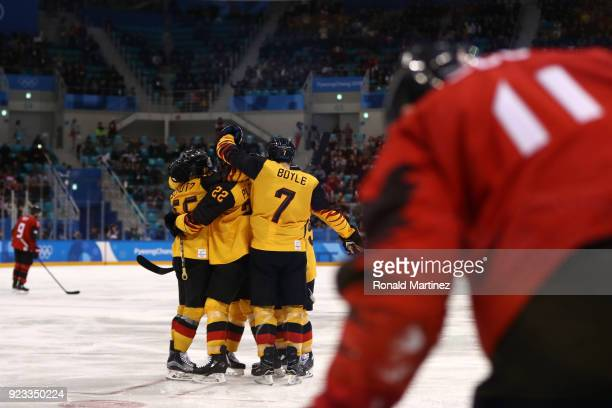 Frank Mauer of Germany celebrates his goal against Canada in the second period during the Men's Playoffs Semifinals on day fourteen of the...