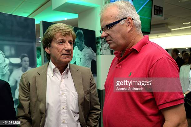Frank Mill and Manfred Bockenfeld are seen during the 'Club Of Former National Players' meeting prior to the international friendly match between...