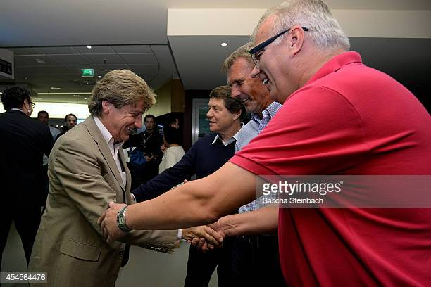 Frank Mill is welcomed by Otto Rehhagel Rudolf Rudi Bommer and Manfred Bockenfeld during the 'Club Of Former National Players' meeting prior to the...