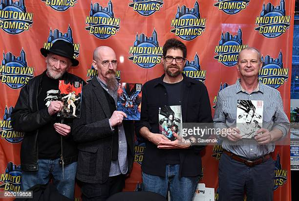 Frank Miller Brian Azzerello Andy Kubert and Klaus Janson attend Dark Knight III The Master Race signing at Midtown Comics on December 19 2015 in New...