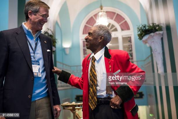 Frank Mosley talks with Charles Capito husband of Sen Shelley Moore Capito RWVa shortly after President Donald Trump addressed a luncheon at the...