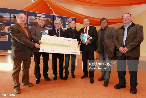 Frank Mueller of Sermuth, Presdient Sermuth Harald Mueller, League Presdent Dr. Reinhard Rauball, Andre Kricke, DFB President Wolfgang Nersbach,...
