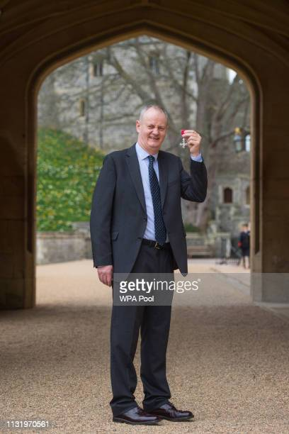 Frank Mullane with his MBE medal awarded by Queen Elizabeth II at an investiture ceremony at Windsor Castle on March 22 2019 in Windsor England