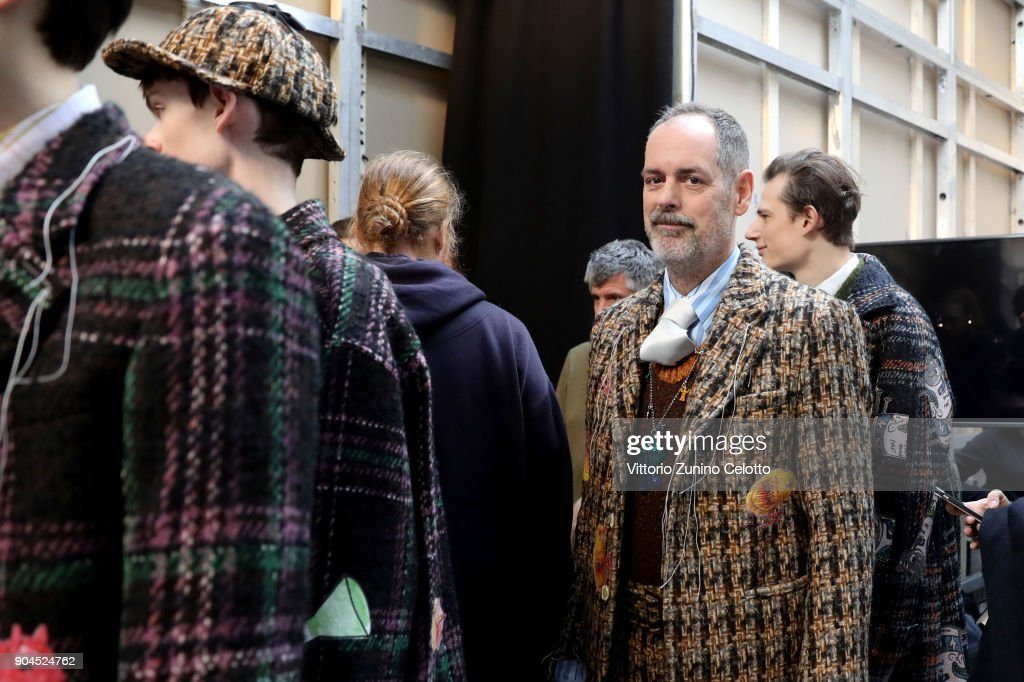 Frank Navin is seen backstage ahead of the Marni show during Milan Men's Fashion Week Fall/Winter 2018/19 on January 13, 2018 in Milan, Italy.