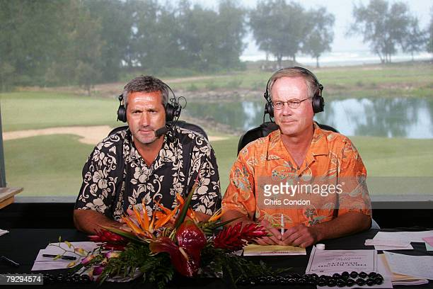 Frank Nobilo and Mark Rolfing announce from the booth at for The Golf Channel during the second round of the Champions Tour Turtle Bay Championship...