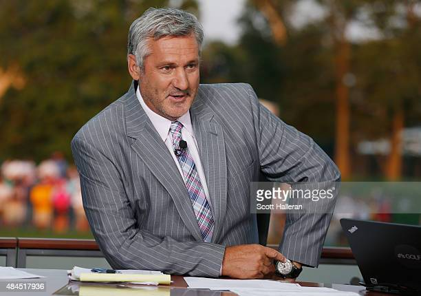 Frank Nobilo reports on the set of Golf Channel after the third round of the 2015 PGA Championship at Whistling Straits on August 15 2015 in...