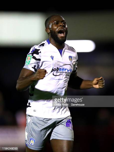 Frank Nouble of Colchester United celebrates after winning the Carabao Cup Round of 16 match between Crawley Town and Colchester United FC at The...