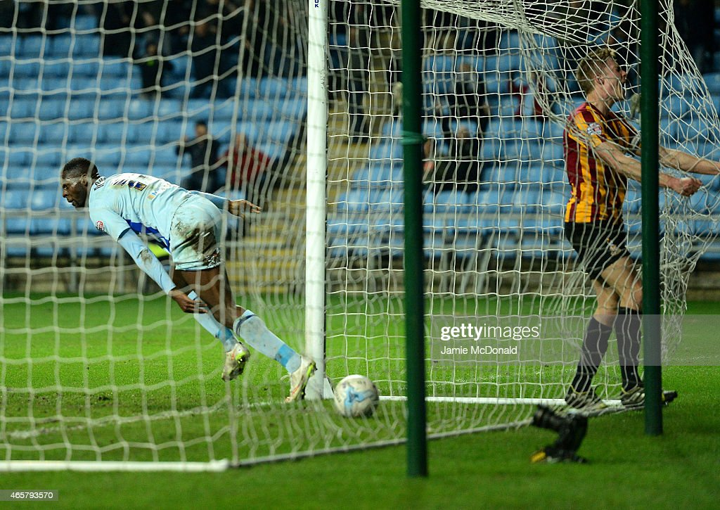 Frank Nouble of Coventry City celebrates his goal during the Sky Bet League One match between Coventry City and Bradford City at Ricoh Arena on March 10, 2015 in Coventry, England.