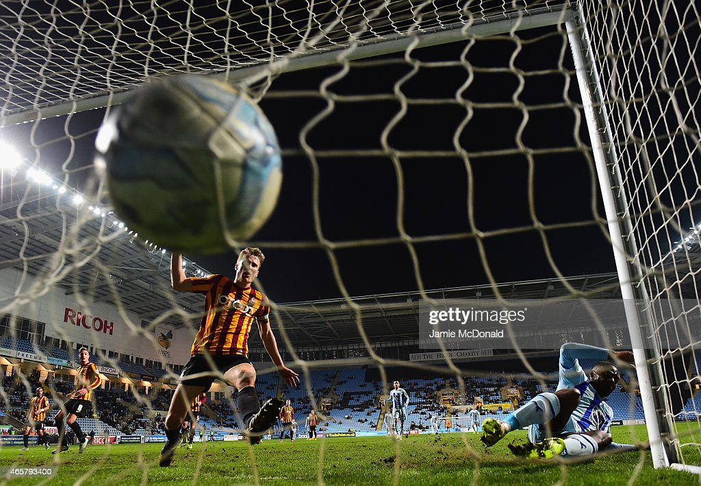 Frank Nouble of Coventry City scores hia goal during the Sky Bet League One match between Coventry City and Bradford City at Ricoh Arena on March 10, 2015 in Coventry, England.