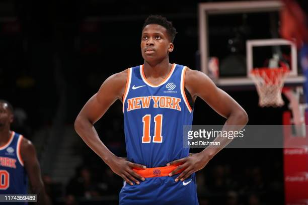 Frank Ntilikina of New York Knicks looks on during the game against the Washington Wizards during preseason on October 7 2019 at Capital One Arena in...