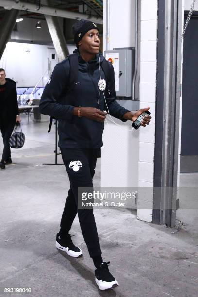 Frank Ntilikina of the New York Knicks arrives before the game against the Brooklyn Nets on December 14 2017 at Barclays Center in Brooklyn New York...