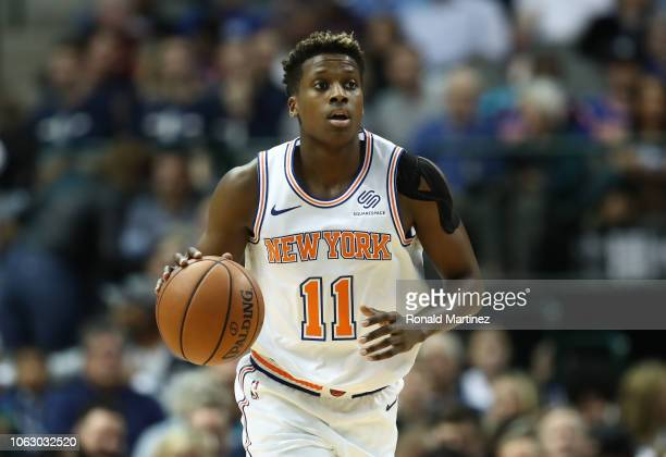 Frank Ntilikina of the New York Knicks at American Airlines Center on November 02 2018 in Dallas Texas NOTE TO USER User expressly acknowledges and...