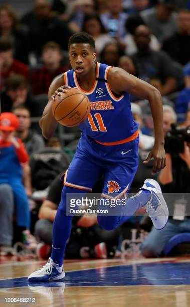Frank Ntilikina of the New York Knicks brings the ball up court against the Detroit Pistons during the first half at Little Caesars Arena on February...