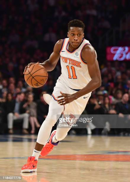 Frank Ntilikina of the New York Knicks brings the ball upcourt during the first half against the Chicago Bulls at Madison Square Garden on October 28...