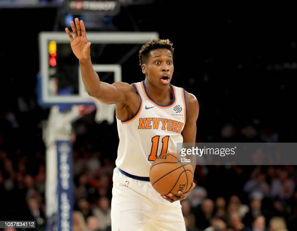 Frank Ntilikina of the New York Knicks calls out the play in the first quarter against the Chicago Bulls at Madison Square Garden on November5 2018...