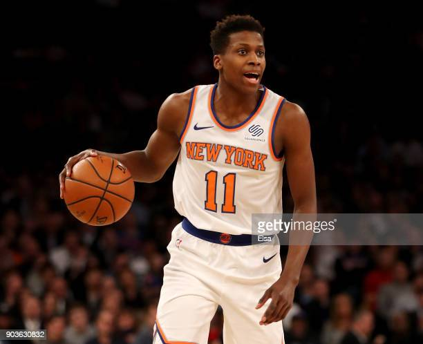 Frank Ntilikina of the New York Knicks calls out the play in the second half against the Chicago Bulls at Madison Square Garden on January 10 2018 in...