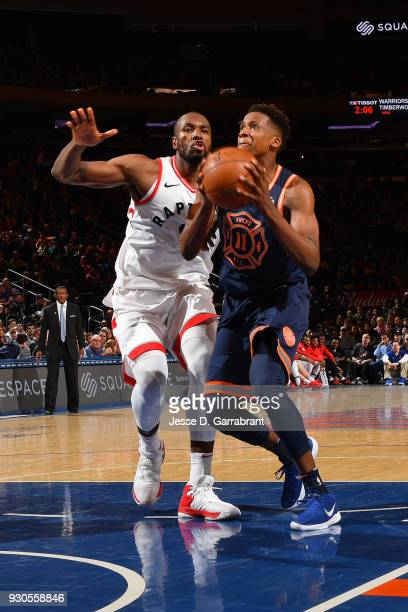 Frank Ntilikina of the New York Knicks drives to the basket during the game against the Toronto Raptors on March 11 2018 at Madison Square Garden in...