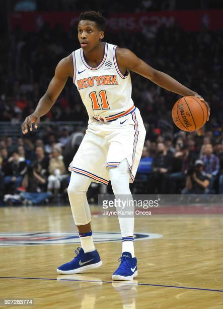 Frank Ntilikina of the New York Knicks drives to the basket in the game against the Los Angeles Clippers at Staples Center on March 2 2018 in Los...