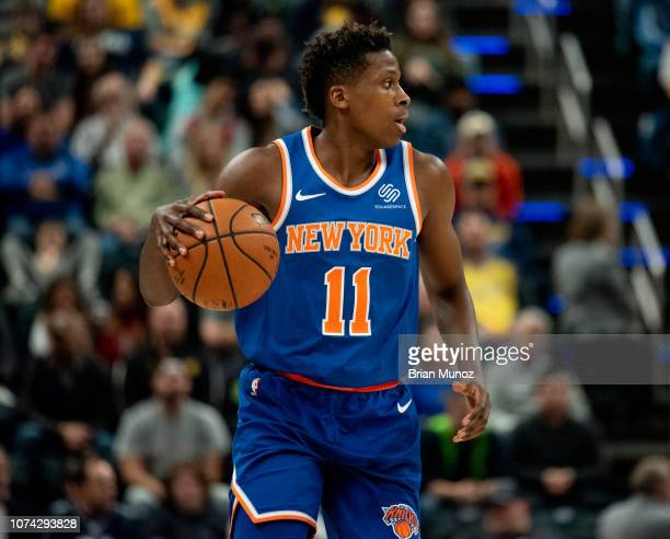 Frank Ntilikina of the New York Knicks during the first half of the game against the Indiana Pacers at Bankers Life Fieldhouse on December 16 2018 in...