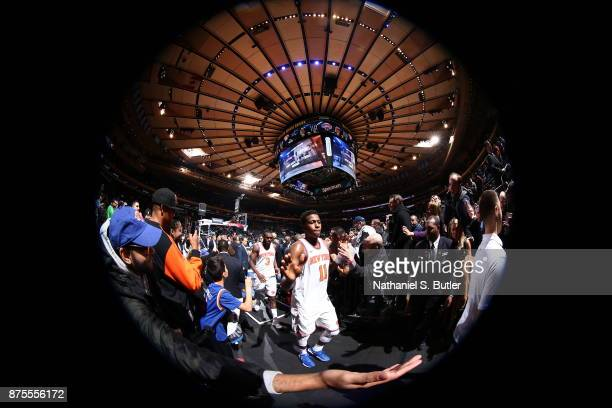 Frank Ntilikina of the New York Knicks exits the arena after the game against the Utah Jazz on November 15 2017 at Madison Square Garden in New York...