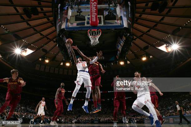 Frank Ntilikina of the New York Knicks goes for a lay up against the Cleveland Cavaliers on November 13 2017 at Madison Square Garden in New York...