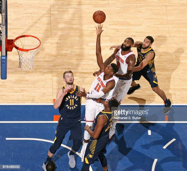 Frank Ntilikina of the New York Knicks goes to the basket against the Indiana Pacers on November 5 2017 at Madison Square Garden in New York City New...