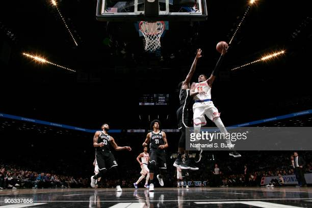 Frank Ntilikina of the New York Knicks goes to the basket against the Brooklyn Nets on January 15 2018 at Barclays Center in Brooklyn New York NOTE...