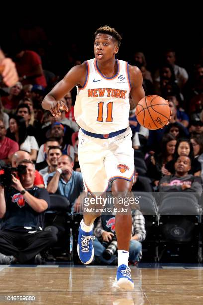 Frank Ntilikina of the New York Knicks handles the ball against the New Orleans Pelicans during a preseason game on October 5 2018 at Madison Square...