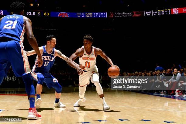 Frank Ntilikina of the New York Knicks handles the ball against the Philadelphia 76ers on December 19 2018 at the Wells Fargo Center in Philadelphia...