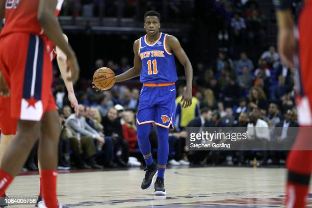 Frank Ntilikina of the New York Knicks handles the ball against the Washington Wizards during the 2019 NBA London Game on January 17 2019 at The O2...