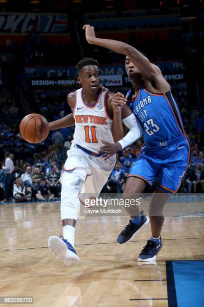 Frank Ntilikina of the New York Knicks handles the ball against the Oklahoma City Thunder on October 19 2017 at Chesapeake Energy Arena in Oklahoma...