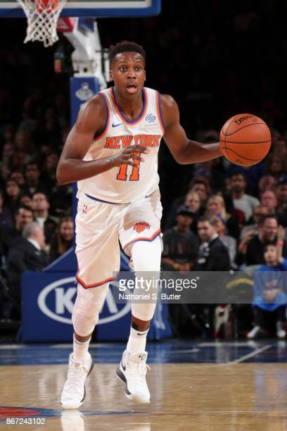 Frank Ntilikina of the New York Knicks handles the ball against the Brooklyn Nets on October 27 2017 at Madison Square Garden in New York City New...